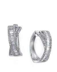 Effy - Metallic Classique Diamond And 14K White Gold Hoop Earrings, 1 Tcw - Lyst