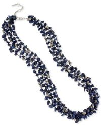 Kenneth Cole | Blue Silver-tone Semiprecious Chip Bead Multi-row Long Necklace | Lyst