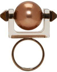 Caterina Zangrando - Metallic Tarnished Brass Studded Resin Ring - Lyst