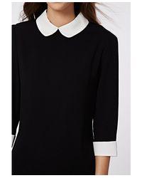 Missguided Black Shayne Peter Pan Collar Shift Dress Monochrome
