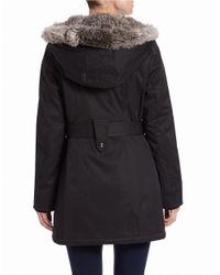 Kensie - Black Faux Fur-trimmed Belted Parka - Lyst