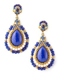 Jose & Maria Barrera - White Beaded Teardrop Clip Earrings Blue - Lyst