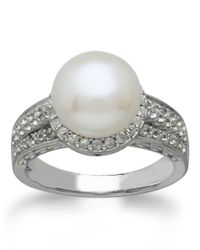 Lord & Taylor | Metallic Sterling Silver Freshwater Pearl And White Topaz Ring | Lyst