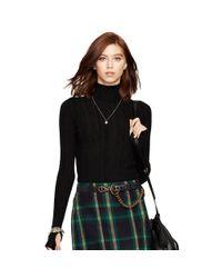 Polo Ralph Lauren - Black Turtleneck Pointelle Sweater - Lyst