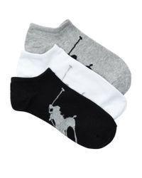 Polo Ralph Lauren - Black Polo Pony Liner Socks (pack Of 3) for Men - Lyst