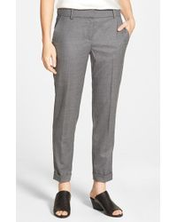 Eileen Fisher Gray Tapered Stretch Wool Ankle Trousers