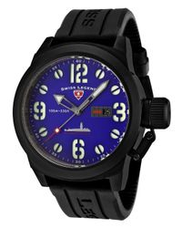 Swiss Legend - Submersible Black Silicone Blue Dial Black Ip Steel Case for Men - Lyst