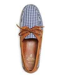 Brooks Brothers - Blue Gingham Boat Shoes for Men - Lyst