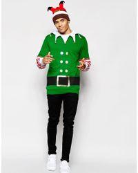 ASOS | Green Christmas Sweatshirt With Elf Print & Bells for Men | Lyst