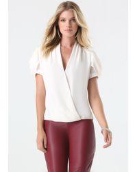Bebe | White Cowl Sleeve Blouse | Lyst