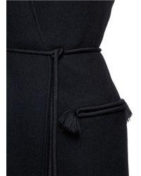Lanvin Black Tassel Belt Wool Blend Vest Coat