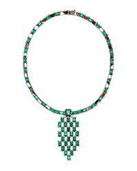 Wilfredo Rosado - Green Black Rhodium And Emerald Necklace - Lyst