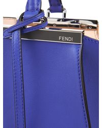 Fendi Blue 3Jours Small Leather Trapeze Tote
