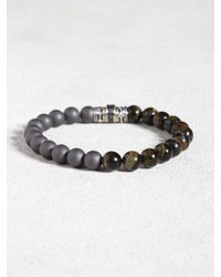 John Varvatos | Gray Blue Tiger's Eye & Hematite Bracelet With Sapphire for Men | Lyst