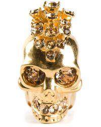 Alexander McQueen | Metallic Mohican Skull Cocktail Ring | Lyst