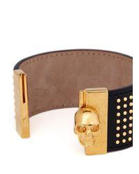 Alexander McQueen - Black Stud Skull Leather Bracelet - Lyst