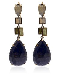 Nak Armstrong | Metallic Gold And Silver Lapis Drop Earrings | Lyst