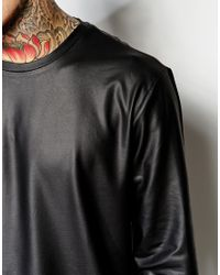 ASOS Black Skater Long Sleeve T-Shirt In Coated Leather Look Fabric for men