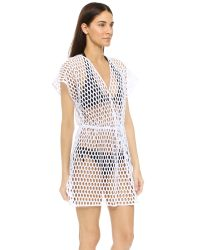 MILLY White Honeycomb Mesh Mauritius Cover Up