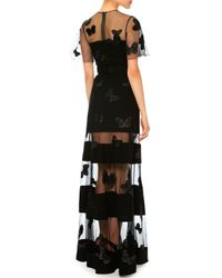 Valentino - Black Netted Butterfly Silk Cady Gown - Lyst