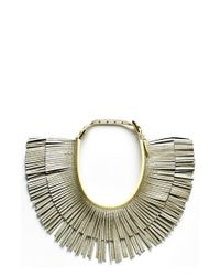 hayden-harnett | Metallic 'ilaria' Leather Fringe Collar Necklace - Platinum Crackle | Lyst