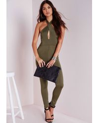 Missguided - Green Cross Over Jumpsuit Khaki - Lyst