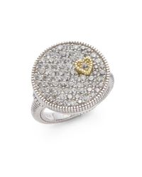 Judith Ripka Metallic White Sapphire & Sterling Silver Pavã© Disc Heart Ring