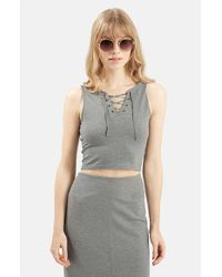 TOPSHOP | Gray Lace-up Crop Top | Lyst