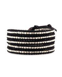 Chan Luu - Metallic Sterling Silver Wrap Bracelet On Black Leather - Lyst