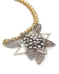 Lulu Frost Metallic Poseidon Pavé Crystal Leaf Pendant Necklace