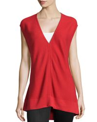 Natori - Red Ribbed V-neck Sweater - Lyst