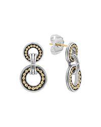 Lagos Metallic Enso Silver & 14k Two-circle Drop Earrings