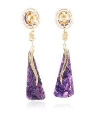 Jordan Alexander - Metallic Mo Exclusive: 18k Gold Amethyst And Charoite Earrings - Lyst