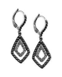 Judith Jack - Metallic Sterling Silver Marcasite 114 Ct Tw and Crystal 14 Ct Tw Double Diamondshaped Drop Earrings - Lyst