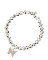 Sydney Evan   Metallic Silver Pyrite Beaded Bracelet With 14K Gold/Diamond Small Starburst Charm (Made To Order)   Lyst
