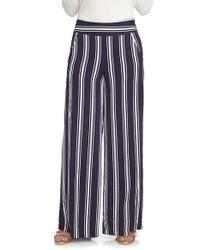 1.STATE - Blue Stripe Wide Leg Pants - Lyst