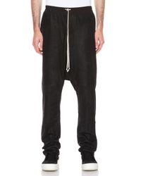 Rick Owens - Black Drawstring Long Woolblend Pant - Lyst