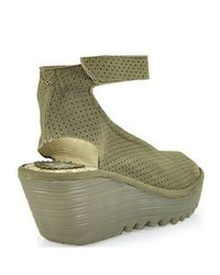 Fly London   Natural Ankle Strap Peep Toe Wedge   Lyst