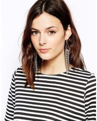 French Connection - Metallic Cupchain and Mixed Chain Drop Earrings - Lyst