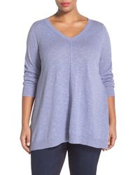 Eileen Fisher Purple Organic Linen & Cotton V-neck Knit Tunic