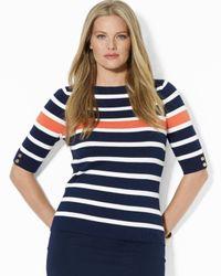Ralph Lauren - Blue Lauren Plus Elbow Sleeve Boat Neck Top - Lyst