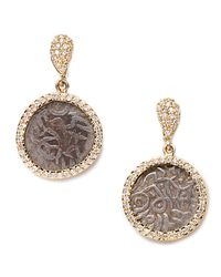 Coomi - Metallic Antiquity 20K Dangling Coin Earrings With Diamonds - Lyst