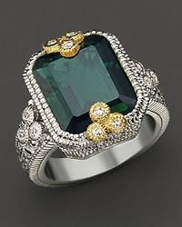 "Judith Ripka Green ""estate"" Bezel Set Emerald Cut Ring"