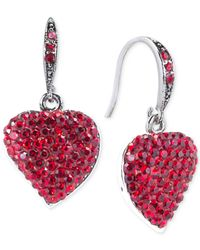 Carolee | Silver-Tone Red Crystal Heart Drop Earrings | Lyst