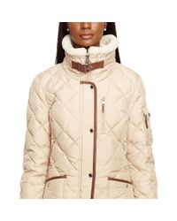 Ralph Lauren | Natural Faux-leather-trim Down Coat | Lyst
