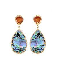 Isharya Multicolor Abalone and Crystal Goldplated Earrings