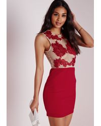 Missguided | Multicolor Applique Floral Mesh Bodycon Dress Red | Lyst