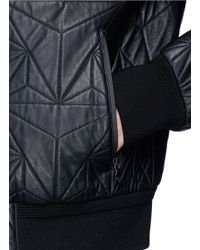 Neil Barrett Black Quilted Prism Leather Bomber Jacket for men