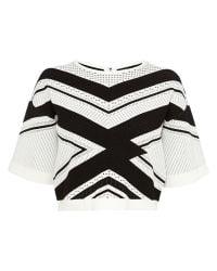 Karen Millen White Chevron Stripe Knit Jumper