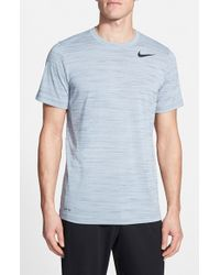 Nike - Blue Dri-Fit Touch Heathered Short Sleeve T-Shirt for Men - Lyst